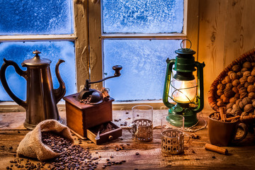 Wall Mural - Winter evening with hot coffee