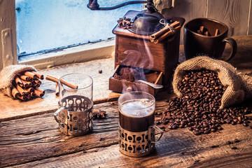 Fototapete - Enjoy your coffee in winter day