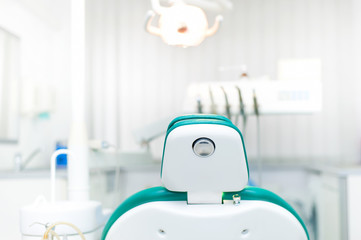 Detail of dentist chair at local dental private clinic