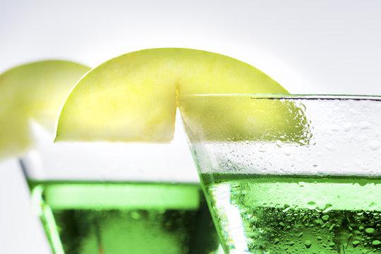 Green Apple Martini Cocktail in Close
