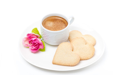espresso, cookies and flower Valentine's Day, isolated