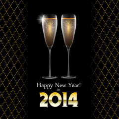 Happy New Year Background with Glass of Champagne