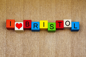I Love Bristol, England, UK, sign series, English cities and cou