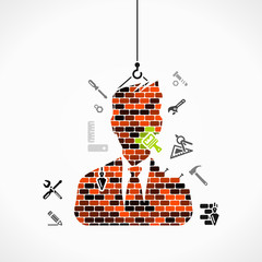 Abstract illustration of a businessman construction site