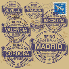 Stamp set with names of Spain cities, vector