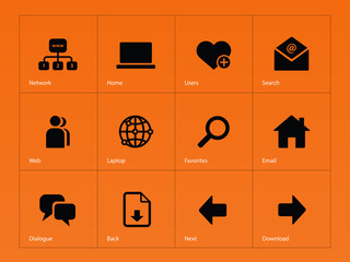 Network icons on orange background.