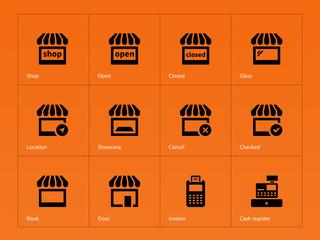 Shop icons on orange background.