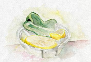 Lemon and green pepper
