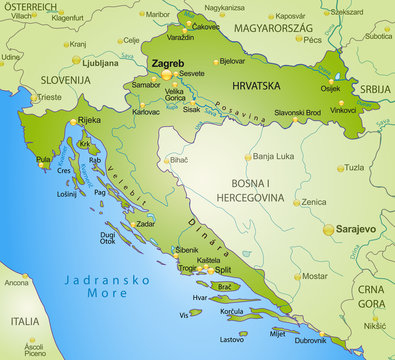 Kroatien als Übersichtskarte in Grün