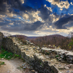 ruins of an old castle in the mountains