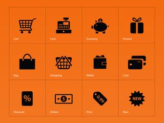 Shopping icons on orange background.