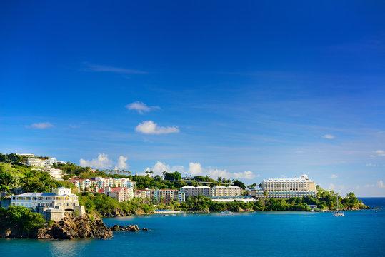 View of the harbor in St. Thomas, U.S. Virgin Islands.