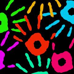 Multicolored handprints
