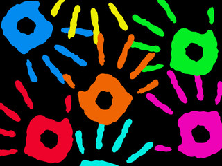 Multicolored hand prints