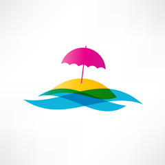 abstract beach holiday icon
