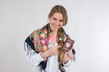 young girl with a passport