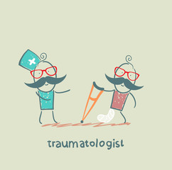 traumatologist speaks with a patient with a broken leg