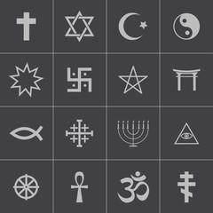 Vector black religious symbols set