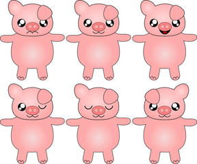 Cute Kawaii pigs with various expressions