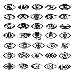 collection of thirty five monochrome eyes icons