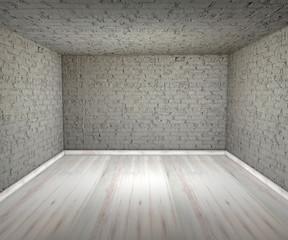 Stanza vuota mattoni parquet pareti