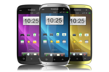 Group of modern touchscreen smartphones.