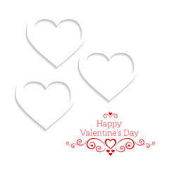 White hearts on a white background