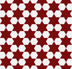 Red and White Hexagon Patterned Textured Fabric Background