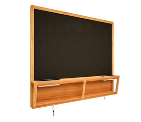 Blank Black School Chalk Board  on  white background