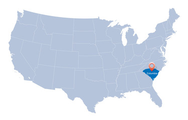 map of USA with the indication of South Carolina state