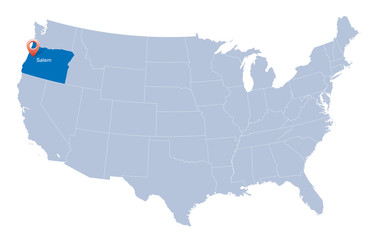 map of USA with the indication of State of Oregon