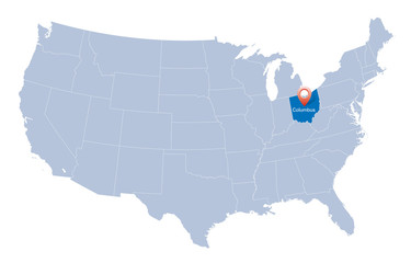 map of USA with the indication of State of Ohio