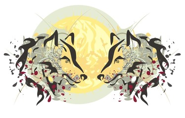 Two heads of a wolf and sun