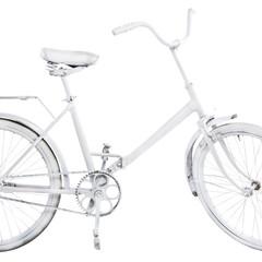 White vintage bike isolated on white background