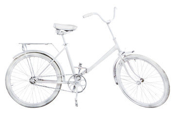 White vintage bike isolated on white background