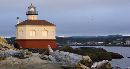 Coquille River Lighthouse Beach Driftwood Marina Town Cityscape