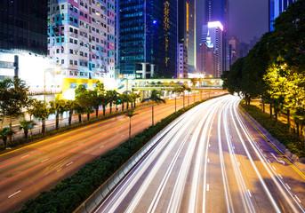 Traffic trail in Hong Kong