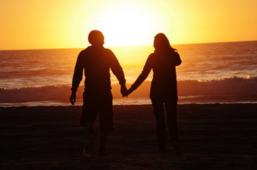 loving couple beach sunset