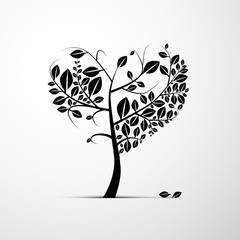 Abstract Heart Shaped Tree on Grey Background