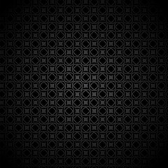 Vector black seamless geometric background with squares, mosaic