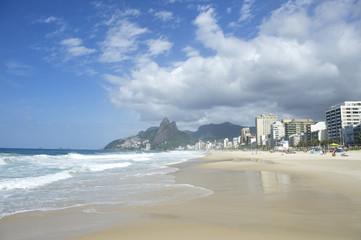 Rio de Janeiro Ipanema Beach Skyline Two Brothers Mountain