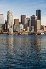 Waterfront Piers Dock Buildings Ferris Wheel Boats Seattle