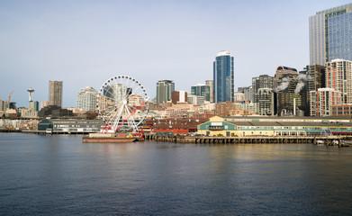 Waterfront Piers Dock Buildings Ferris Wheel Seattle