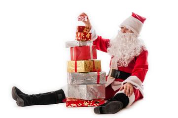 Santa Claus and gifts pyramid