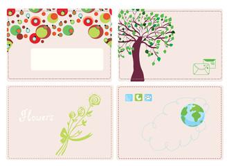 Business cards funny design set