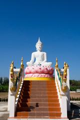 White buddha in public temple
