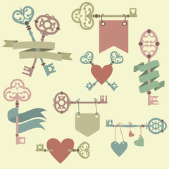 Vector set with vintage keys, ribbons and hearts