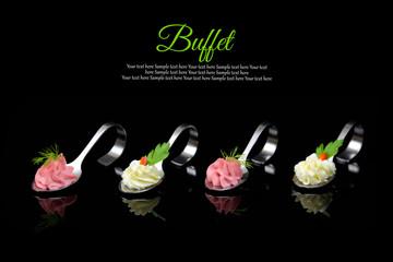 Elegant spoons with puree and garnish, gourmet cuisine