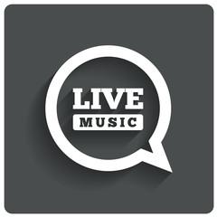 Live music icon. Speech bubble label. Karaoke.