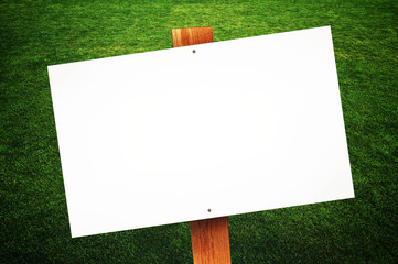 Wall Mural - Blank sign on the lawn